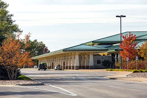 Cherry Capital Airport terminal building and cell phone parking area