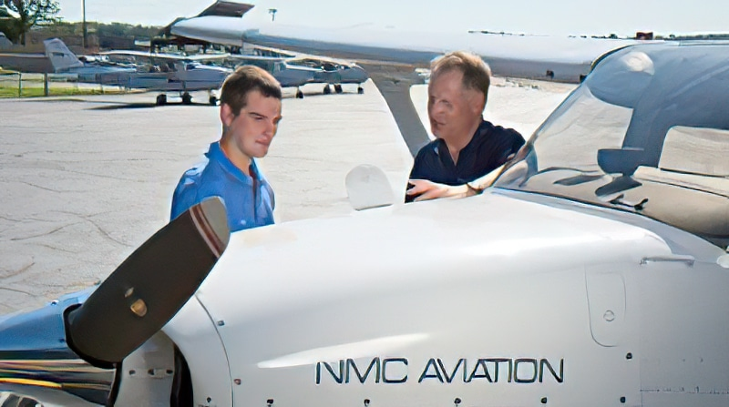 Student with aviation instructor at NMC