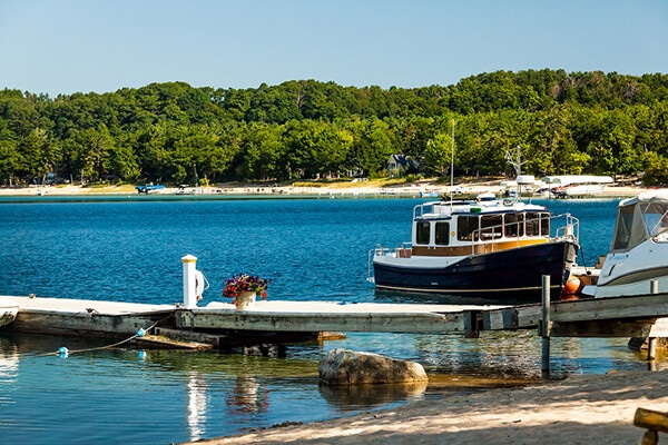 harbor and boat on Grand Traverse Bay