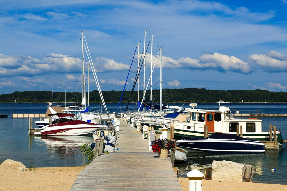 Boats docked on Old Mission Peninsula
