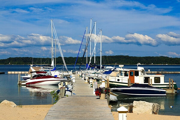 Boats docked on West Grand Traverse Bay