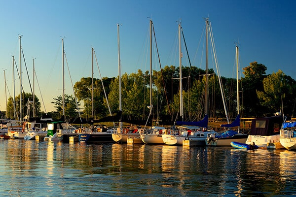Sailboats docked in Suttons Bay, MI