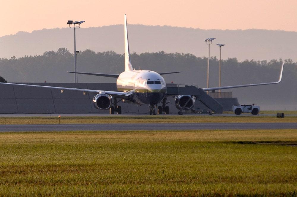 Passenger airplane landing at TVC
