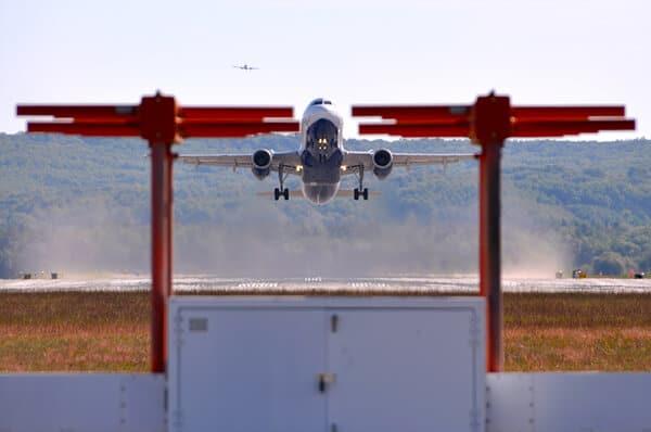 Airplane landing at TVC