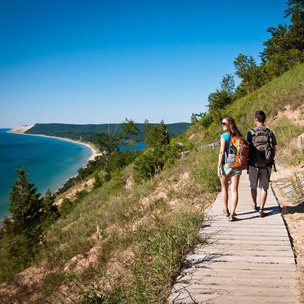 Couple hiking the dunes