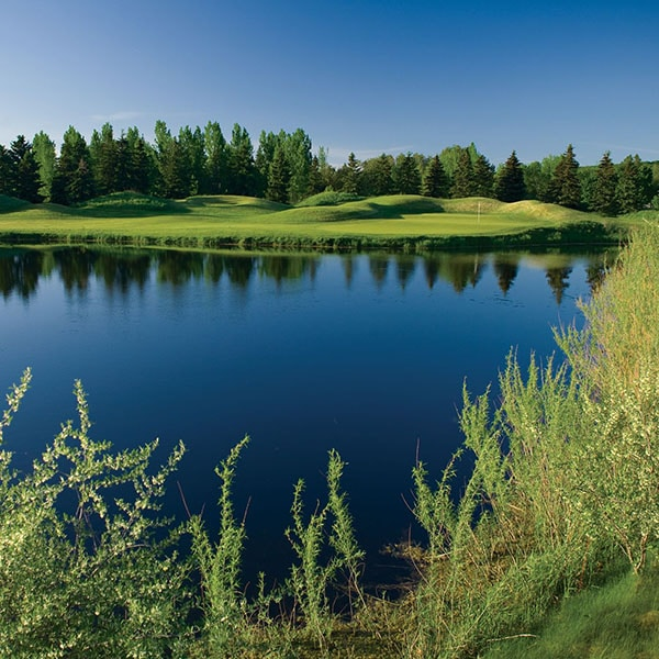 view over lake to green on golf course