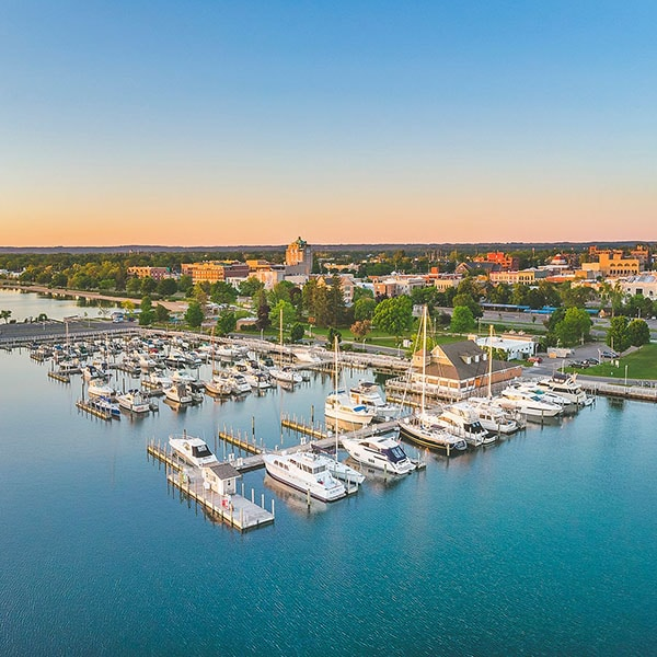 Traverse City, MI harbor and downtown