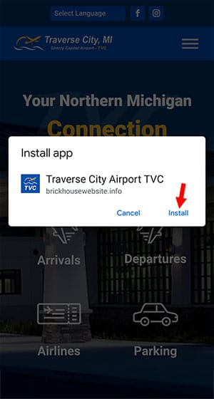 Add TVC to your home screen - Chrome